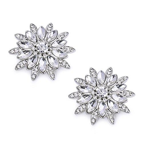 ElegantPark AS Women Sunshine Design Wedding Party Prom Decoration Crystals Clutch Dress Hat Shoe Clips 2 Pcs Silver
