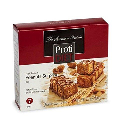ProtiDiet Peanut Surprise Bar (7 bars of 1.41 oz, net 9.9 oz) - High Protein Peanut Surprise Bar