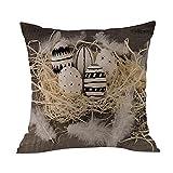 Weiliru Cotton Linen Square Throw Waist Pillow Case Decorative Cushion Cover Pillowcase Happy Easter Sofa Bed Home Decoration
