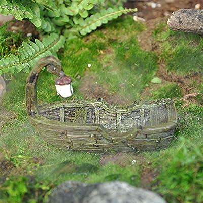 Swamp Boat with Lantern for Miniature Garden, Fairy Garden: Home & Kitchen