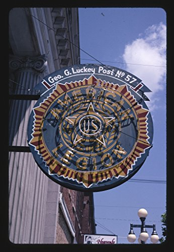 16 x 24 Gallery Wrapped Framed Art Canvas Print of American Legion neon Sign, Vinton, Iowa 2003 Roadside Americana Ready to Hang 92a