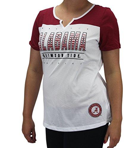 Creative Apparel Women' s Alabama Crimson Tide White-Cardinal Bling T-Shirt