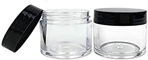 1 Ounce Round Plastic Jars with Black Cap Clear Empty Containers Jar for Ointment Pill Tea Food Cosmetic Lotion Facial Cream Mask,Pack of 10