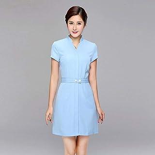 OPPP Abbigliamento medico Infermiera Medico Infermiere con Scollo a V Uniforme a Maniche Corte Abbigliamento Medico Salone di Bellezza Vestito Viola Tuta Blu