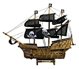 Carribean Wooden Handcrafted Pirate Sail Boat/Ship Replica Model, Black Sails Brown Body