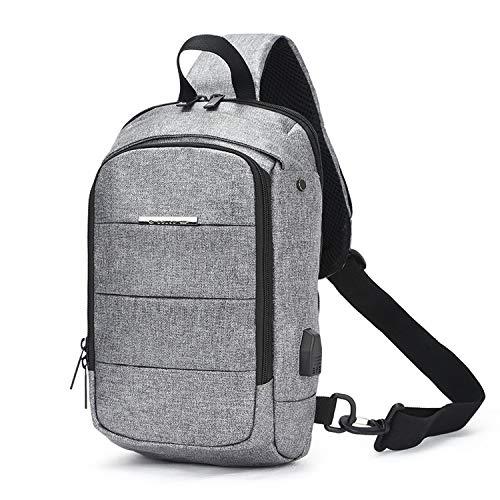 Recycled Vertical Messenger Bag - Casual Men's Chest Pack Waterproof Crossbody Bags Male USB Charging Shoulder Bag Oxford Messenger Bag