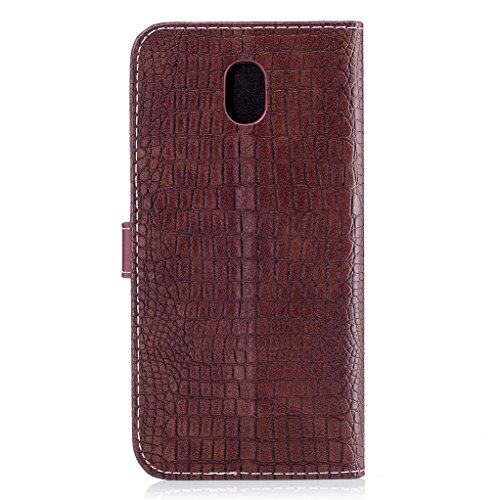 Trumpshop Smartphone Carcasa Funda Protección para Samsung Galaxy J5 (2016) SM-J510 [Dorado] Patrón de Piel de Cocodrilo PU Cuero Caja Protector Billetera Choque Absorción Marrón
