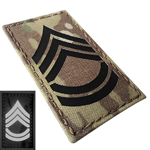 Multicam Infrared IR Sergeant First Class SFC E-7 Rank 3.5x2 US Army Tactical Morale Touch Fastener Patch