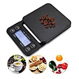 High-Accuracy Digital Food Coffee Scale - LISCENERY Food Scale/Kitchen Scale/Coffee Scale - Electronic Timer With LCD Display Black