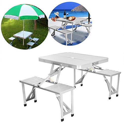 Portable Folding Aluminum Picnic Table with 4 Seats Camping Garden (Metal 3 Seater Garden Bench)