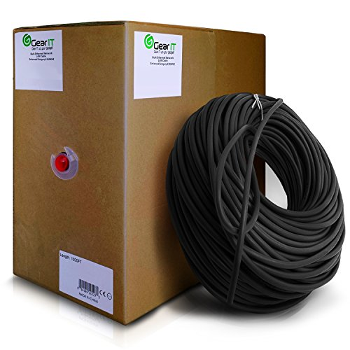 GearIt Cat5e Ethernet Cable Bulk 1000 Feet - Cat 5e 350Mhz 24AWG Full Copper Wire UTP Pull Box - In-Wall Rated (CM) SOLID Cat5e, Black