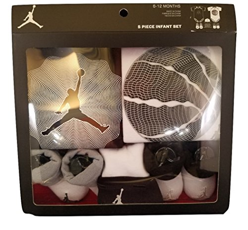 Nike Air Jordan 5 Piece Infant/Baby Set Black, White/Gray 6-12M - 2 Bodysuits, 2 Pairs of Booties &