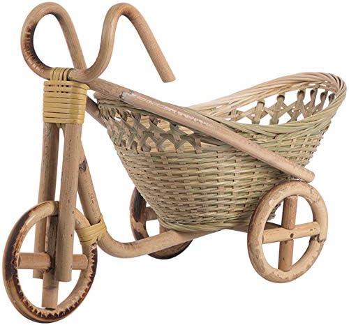 TTBD Cesta de Fruta de Paja Tejida Hecha una Mano de Bamb/ú Organizador de Pan de Mimbre de Comida de Mimbre Cocina Decorativa de Bicicleta Organizador de Regalo