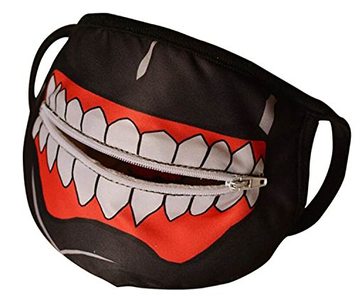 MIUNIKO Unisex Cute Cartoon Anime Tokyo Ghoul Kaneki Ken Mask Outdoor Cosplay Halloween Accessories (With Zipper) (Anime Halloween Mask)