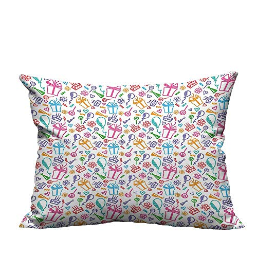 YouXianHome Throw Pillow Cover for Sofa Sketch Ballo Flowers Lollipops Pr ents Cak Kids Multicolor Textile Crafts (Double-Sided Printing) 20x35.5 inch
