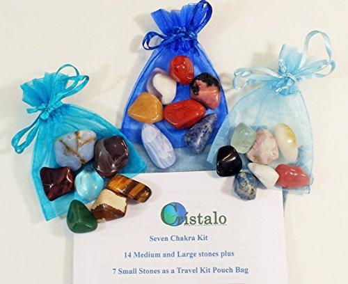 Kit Practitioner (Seven Chakras Crystal Healing Balancing and Meditation Kit Tumbled Stones - Reiki Yoga by Cristal Quartz)