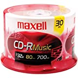 Maxell Music CD-R Media Spindle, 700MB/80 Minutes, Pack of 30