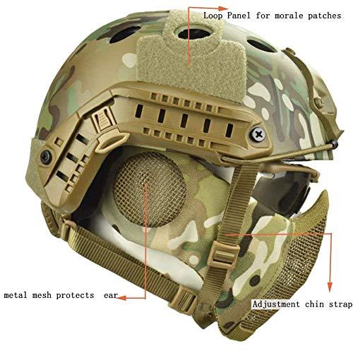 QZY Casque de Protection Airsoft Paintball ETS Casques Tactiques avec Masque de Maille en Acier Set de Jeux CS 8… 3