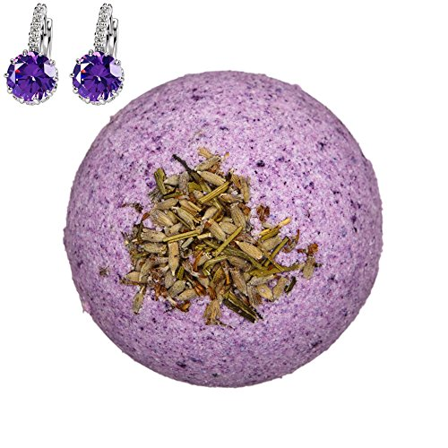 Addicted to Soap – Purple Earrings Jewelry Bath Bomb | Ultra Luxurious - Extra Large 6oz Bath Bomb with STERLING SILVER Surprise Inside - Organic & Sensual Relaxation Handmade with Love Texas