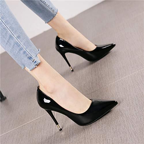 HRCxue Pumps Mode Lackleder Stiletto Heels vielseitige Lichtfarbe Mode Spitze Schuhe Arbeitsschuhe