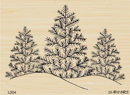 Triple Tree with Snow Rubber Stamp By DRS Designs
