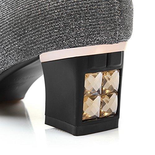 Black Closure Womens No AdeeSu SDC04133 Chunky Heels Pleather Rhinestones Sandals fzvxqUw