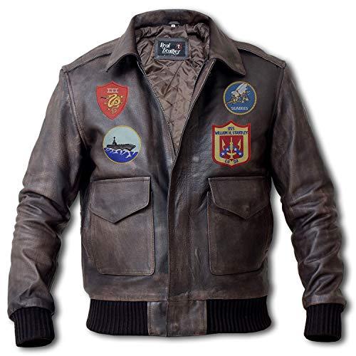 Top Gun Jacket - Maverick Costume Tom Cruise Top Gun Bomber Jacket - Flight Suit (Grey - A2 Aviator Jacket, L/Body Chest 42