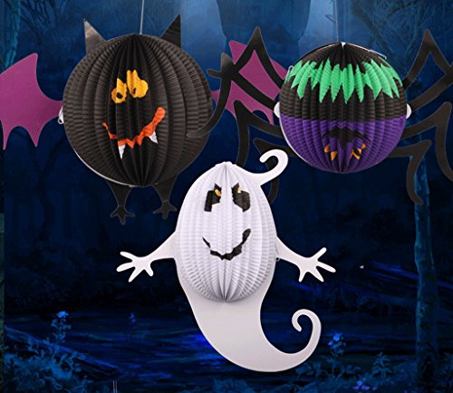Halloween Family Friendly Decorations Paper Lanterns, pack of 3 -Spider ,Bet , Ghost (Halloween Parade Clipart)