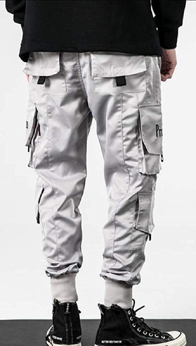 GAGA Men Fashion Outdoor Casual Multi Pocket Cargo Pants Military Athletic-Fit Trousers