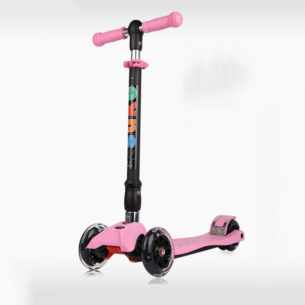 Pink Height  66cm Modenny Kids 4 PU Wheel Adjustable Height Mini Kick Scooter with LED Light Up PU Wheels (color   Red, Size   Height  82cm)