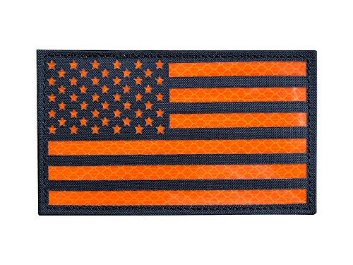 5x3 Large Reflective Black Orange US USA American Flag Patch
