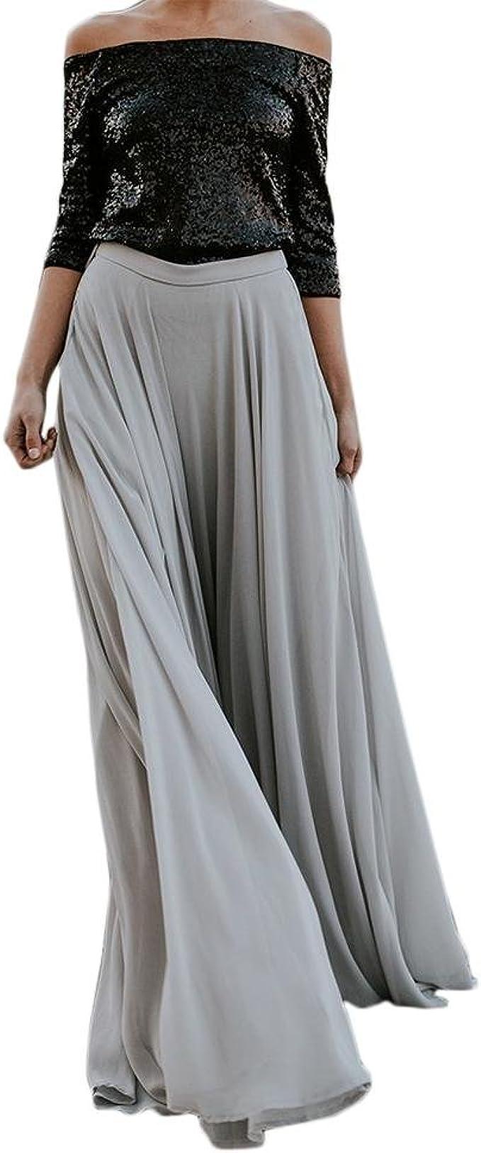 HNTDG Summer Womens Fashion Double Layer Skirt Chiffon Skirt in Solid Color Maxi Skirt Elastic Waist Skirt