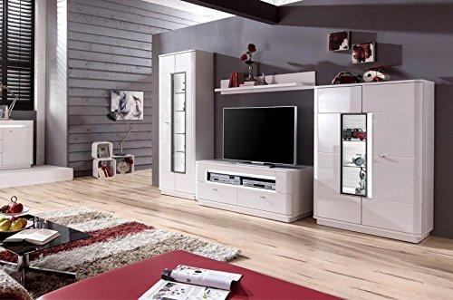 Wohnwand 'Quadra 2' Hochglanz lackiert Weiß Vormontiert