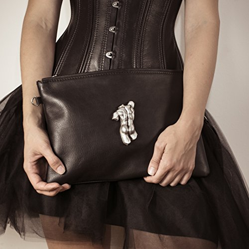 Leather zipper clutch with a sculpture of a man by KRASEN DOM