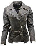 Ladies Black Vintage Feminine Leather Biker Jacket 16
