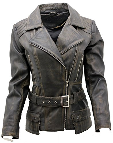 Ladies Black Vintage Feminine Leather Biker Jacket 18