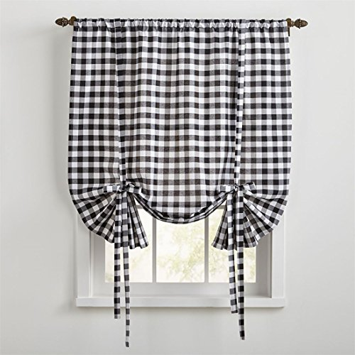 BrylaneHome Buffalo Check Tie-Up Window Shade (Black White,0)