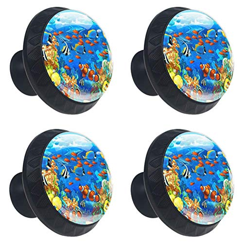 LORVIES Under Water Fishes in Ocen Sea Tropical Drawer Knob Pull Handle Crystal Glass Circle Shape Cabinet Drawer Pulls Cupboard Knobs with Screws for Home Office Cabinet Cupboard (4 Pieces)