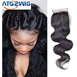 ATOZWIG Brazilian Body Wave Closure Human Virgin Hair Lace Closure Piece 8-20 inch Free Part Natural Black Color
