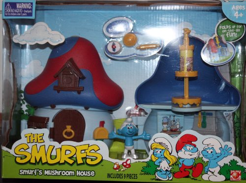Smurf Mushroom - Smurfs 2 Inch Articulated Mini Figure Playset Smurf with Mushroom House