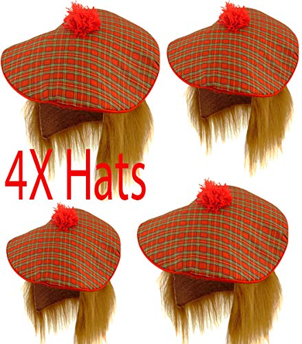 Adult Bulk Multi Pack Scottish Tam O Shanter Tartan Hat with Ginger Hair Uomo Unisex Fancy Dress Party Hats Accessory (PACK OF 4)