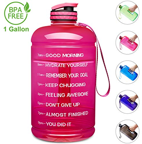 Venture Pal Large 1 Gallon/128 OZ & 74 OZ Motivational Leakproof BPA Free Water Bottle with Time Marker Perfect for Fitness Gym Camping Outdoor Sports-1Gallon-Pink