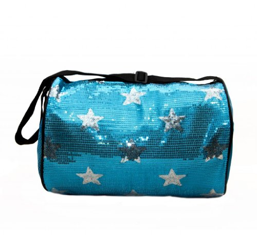 [Girls Nylon Dance Duffle Bag w/ Sequin Stars (Turquoise)] (Cute Costumes For Dance)