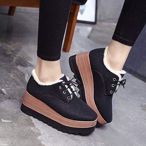 Frauen mit Schwarz Schnürung Warme hohen dicken kuchen Stiefel kurz Schuhe Kiefer winter Studenten Schuhe Schuhe Absätzen schuh 0qBwqFa6