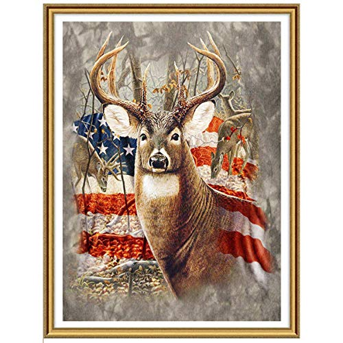 Ginfonr 5D DIY Diamond Painting Art American Flag Deer for Adults Full Drill by Number Kits, Elk Paint with Diamonds Animal Craft Embroidery Rhinestone Cross Stitch Decor (12x16 inch) ()
