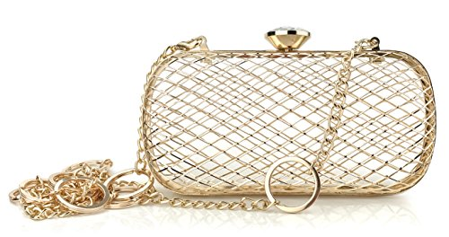 Metallic Mesh Womens Evening Clutch with Chain Strap Hard Case Purse Shoulder Bag (Mesh Metallic Evening Bag)