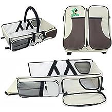 [Patrocinado] 3en 1bolsa de viaje para bebé | cuna portátil/plegable cama | cuna de viaje funciona como bolsa de pañales y cambio de estación | Por simplemente Samba, Beige