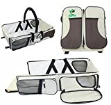 Just Samba Baby Diaper Bag, Portable Bassinet and Travel Changing Station (3-in-1) Cushioned Mattress w/Fitted Sheet | Insulated Bottle Cooler | Multiple Storage Pockets | Mosquito Net