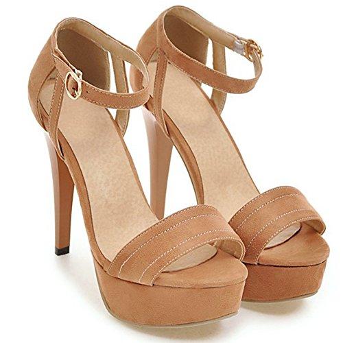 Aisun Donna Sexy Con Fibbia Stiletto Tacchi Alti Open Toe Cinturino Alla Caviglia Sandali Con Zeppa Scarpe Albicocca