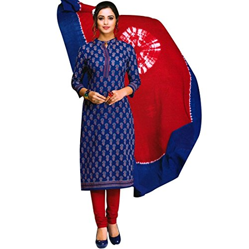 Ready To Wear Designer Blue Printed Cotton Salwar Kameez Suit India – X-Small, Blue